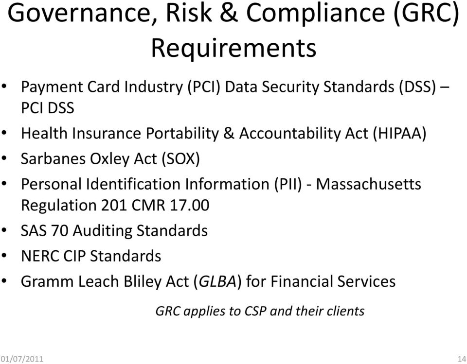 Identification Information (PII) - Massachusetts Regulation 201 CMR 17.