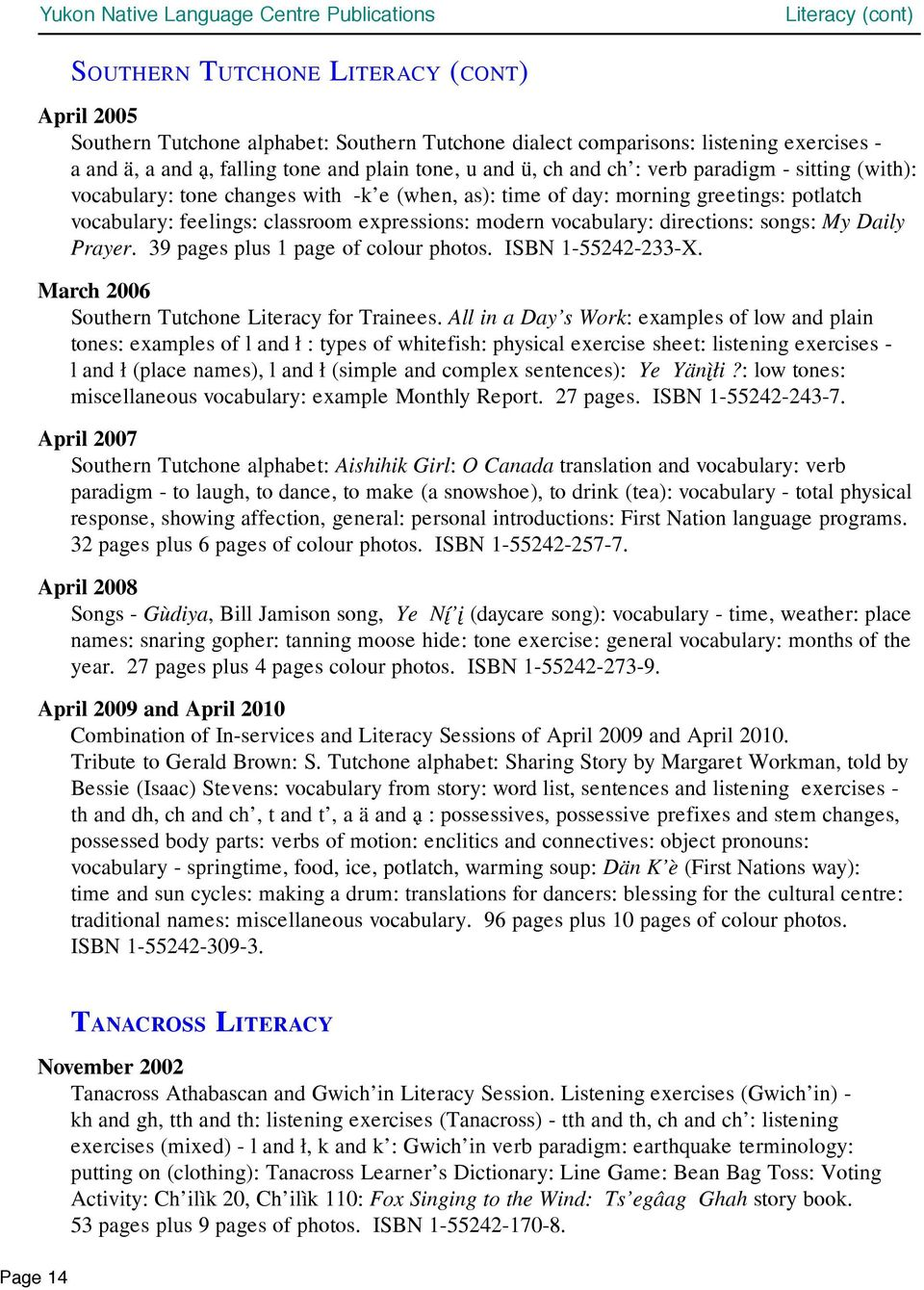 vocabulary> directions> songs> My Daily Prayer. 39 pages plus 1 page of colour photos. ISBN 1-55242-233-X. March 2006 Southern Tutchone Literacy for Trainees.