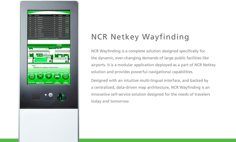 It is a modular application deployed as a part of NCR Netkey solution and provides powerful navigational capabilities.