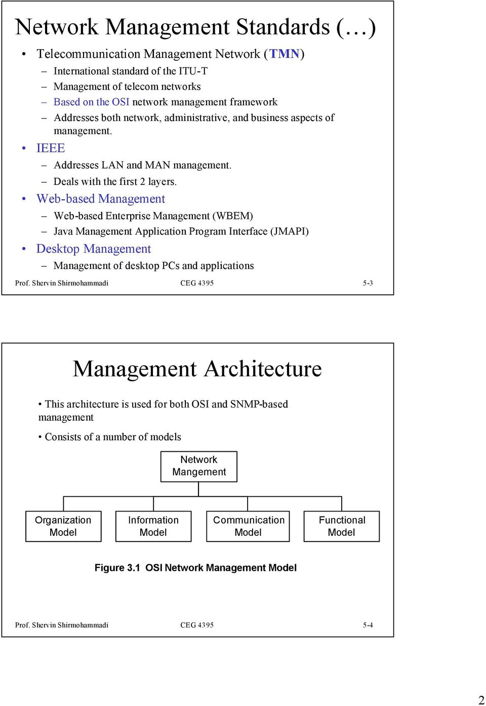 Web-based Management Web-based Enterprise Management (WBEM) Java Management Application Program Interface (JMAPI) Desktop Management Management of desktop PCs and applications Prof.