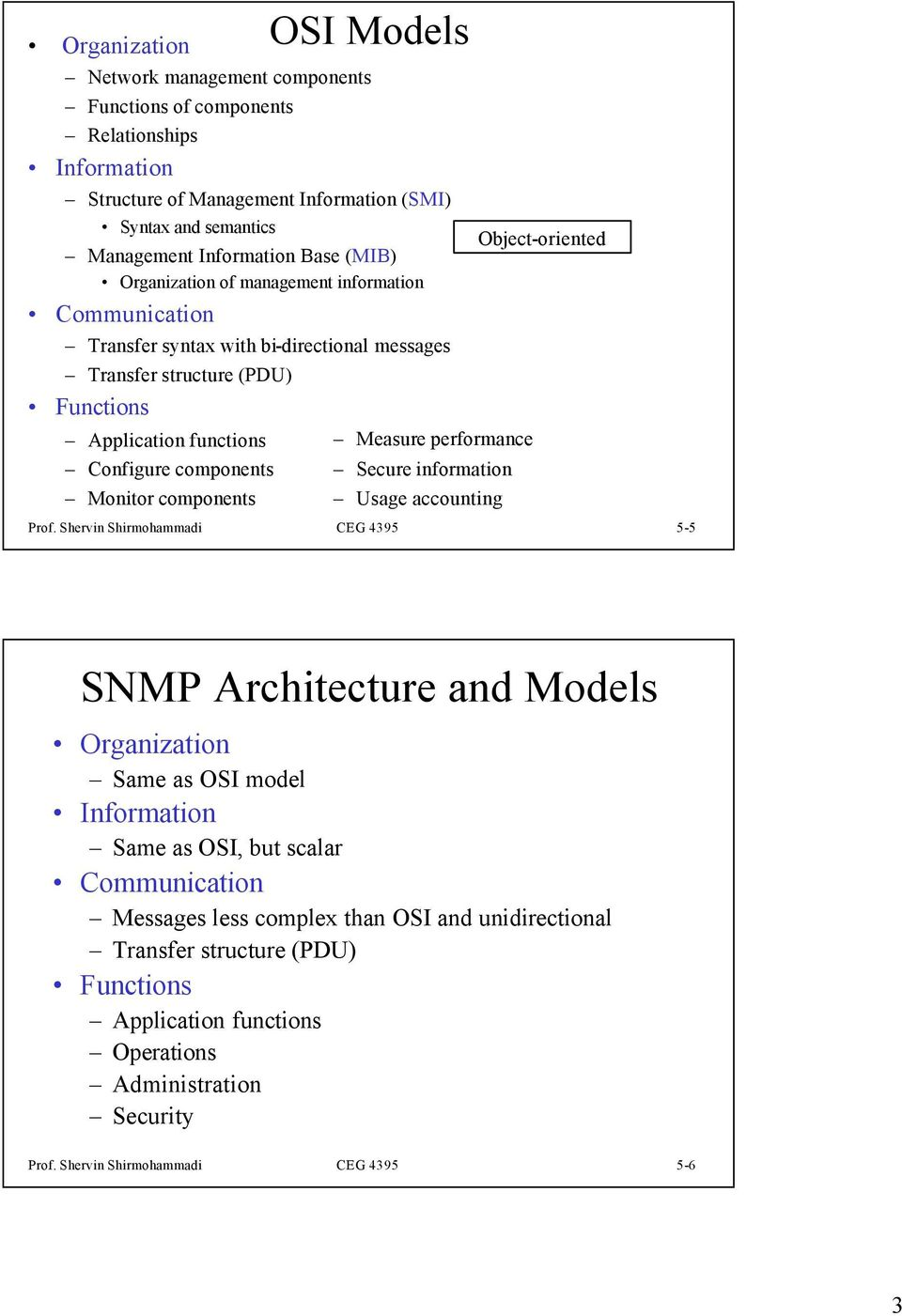 components Measure performance Secure information Usage accounting Object-oriented Prof.