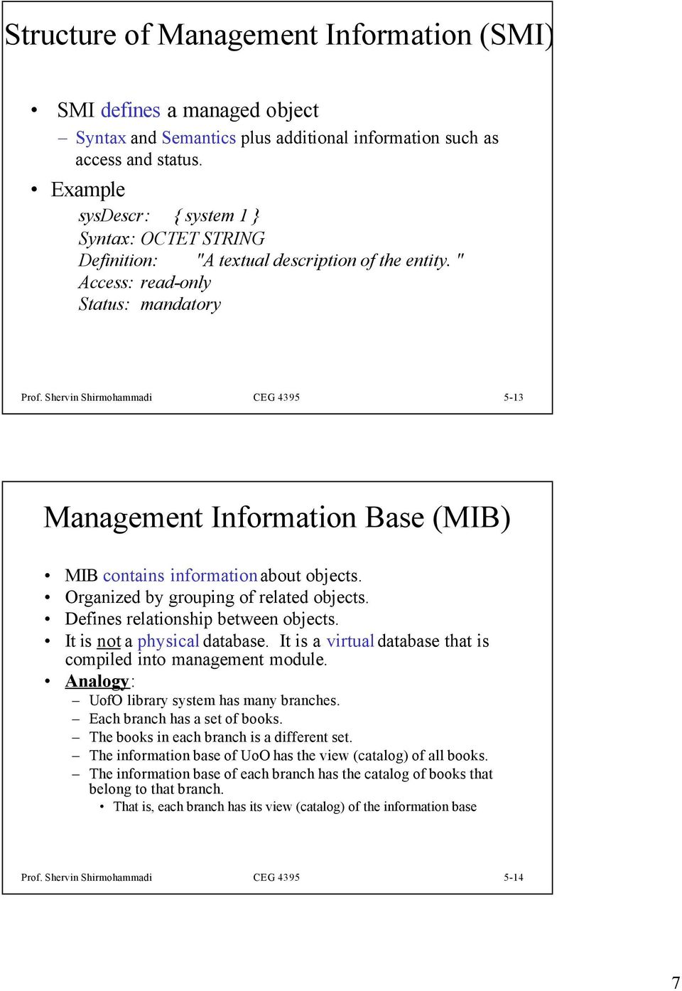 Shervin Shirmohammadi CEG 4395 5-13 Management Information Base (MIB) MIB contains information about objects. Organized by grouping of related objects. Defines relationship between objects.