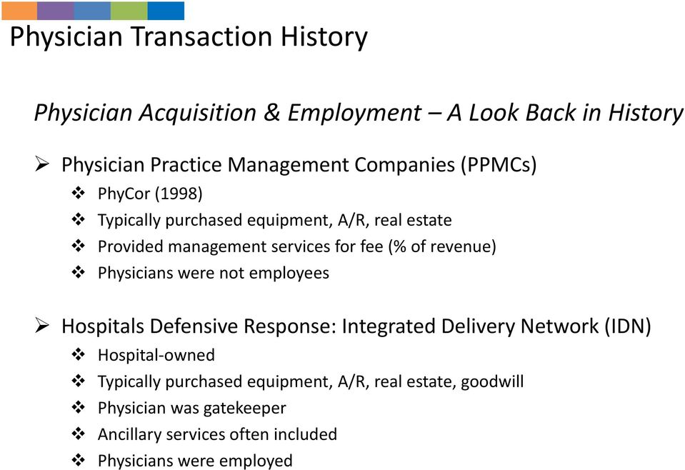 revenue) Physicians were not employees Hospitals Defensive Response: Integrated Delivery Network (IDN) Hospital owned