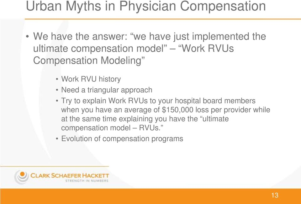 explain Work RVUs to your hospital board members when you have an average of $150,000 loss per provider