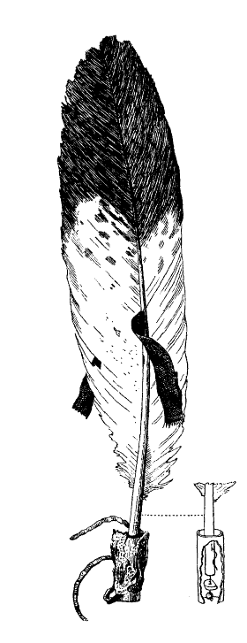 xx Figure 1: Eagle Feather from the Naming Ceremony of Kahkewaquonaby ( Sacred Feathers ) Reproduced from W.J.McGee, Ojibwa Feather Symbolism, American Anthropologist, vol. 11, no. 6 (June 1898), p.