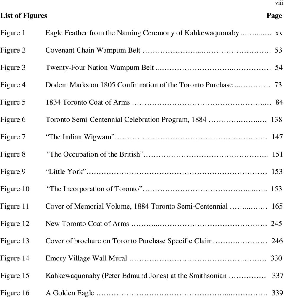 .. 138 Figure 7 The Indian Wigwam. 147 Figure 8 The Occupation of the British.. 151 Figure 9 Little York 153 Figure 10 The Incorporation of Toronto.