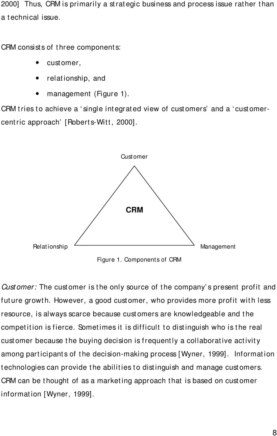 Components of CRM Customer: The customer is the only source of the company s present profit and future growth.