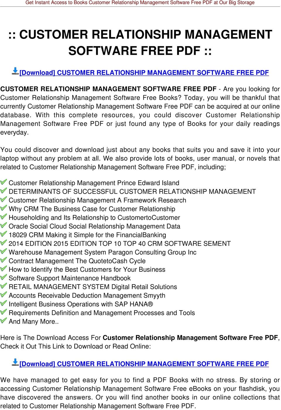 With this complete resources, you could discover Customer Relationship Management Software Free PDF or just found any type of Books for your daily readings everyday.