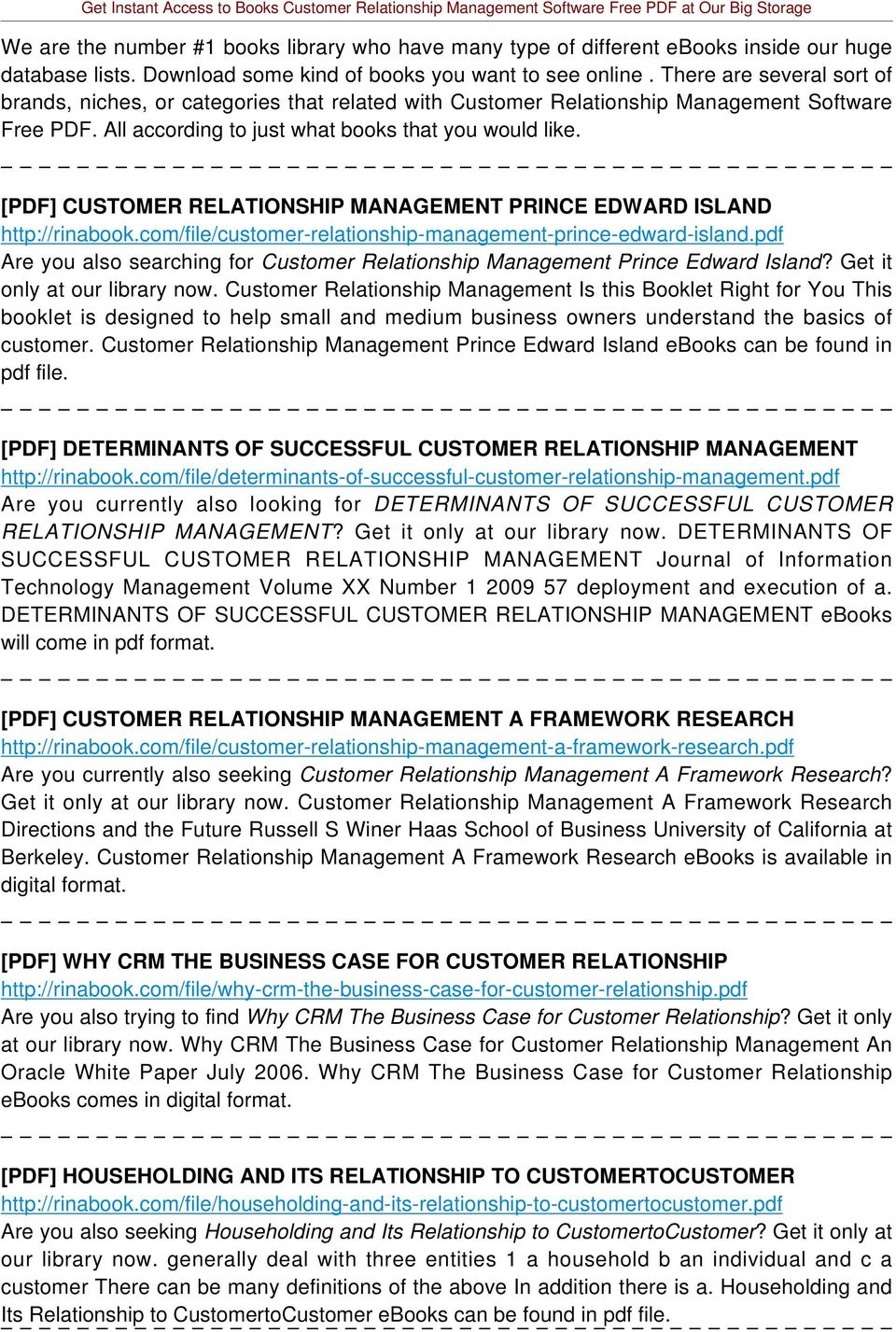 [PDF] CUSTOMER RELATIONSHIP MANAGEMENT PRINCE EDWARD ISLAND http://rinabook.com/file/customer-relationship-management-prince-edward-island.