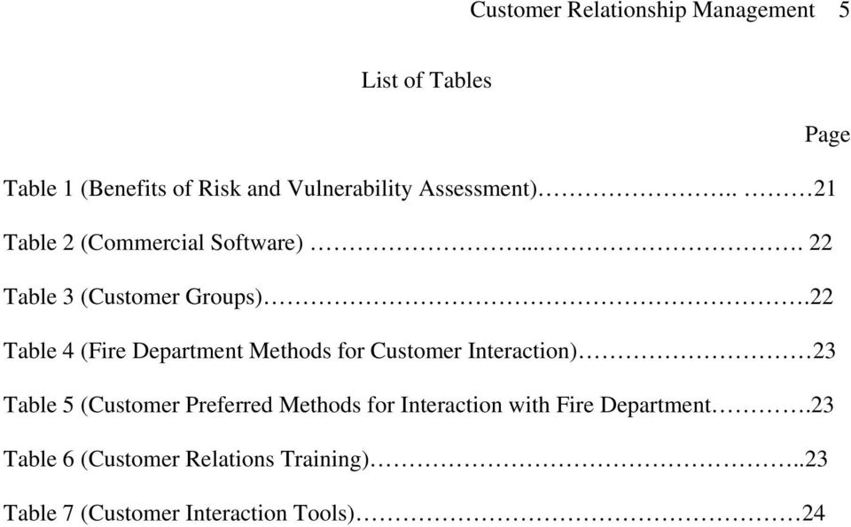 22 Table 4 (Fire Department Methods for Customer Interaction) 23 Table 5 (Customer Preferred Methods