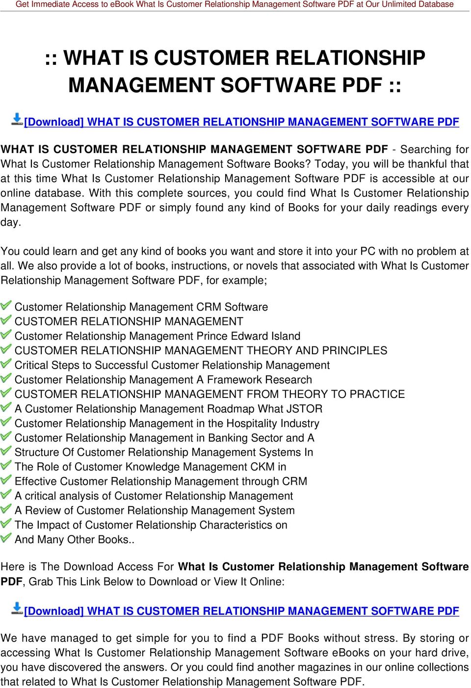 With this complete sources, you could find What Is Customer Relationship Management Software PDF or simply found any kind of Books for your daily readings every day.