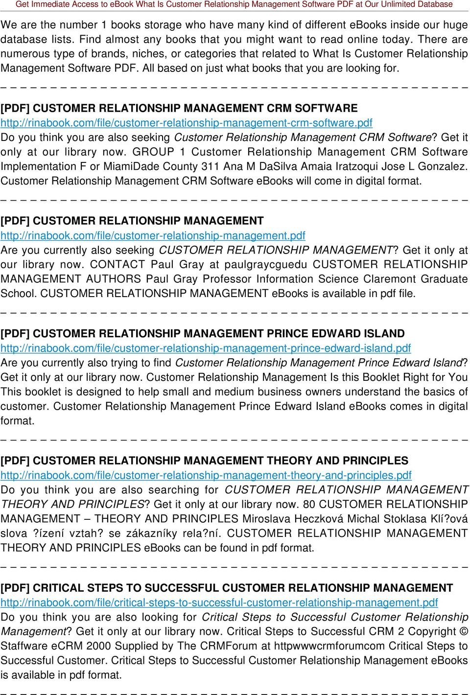 [PDF] CUSTOMER RELATIONSHIP MANAGEMENT CRM SOFTWARE http://rinabook.com/file/customer-relationship-management-crm-software.