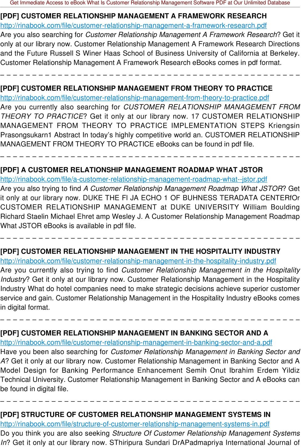 Customer Relationship Management A Framework Research Directions and the Future Russell S Winer Haas School of Business University of California at Berkeley.