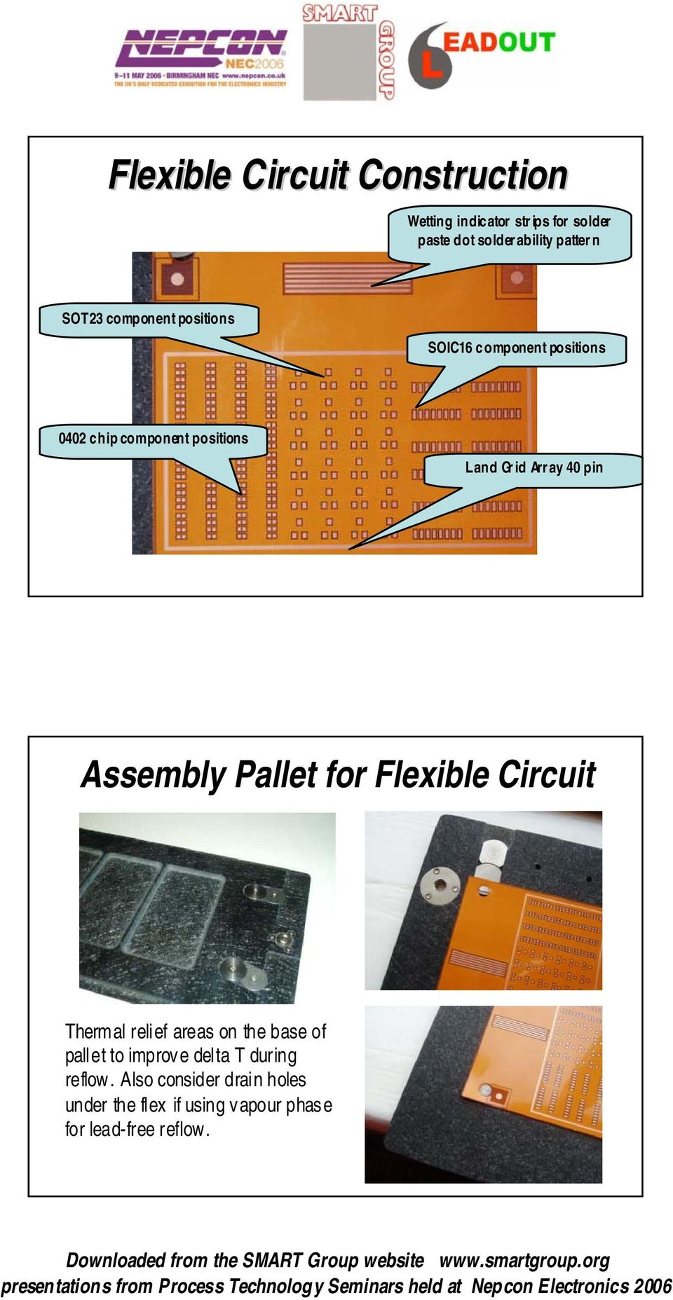 40 pin Assembly Pallet for Flexible Circuit Thermal relief areas on the base of pallet to improve