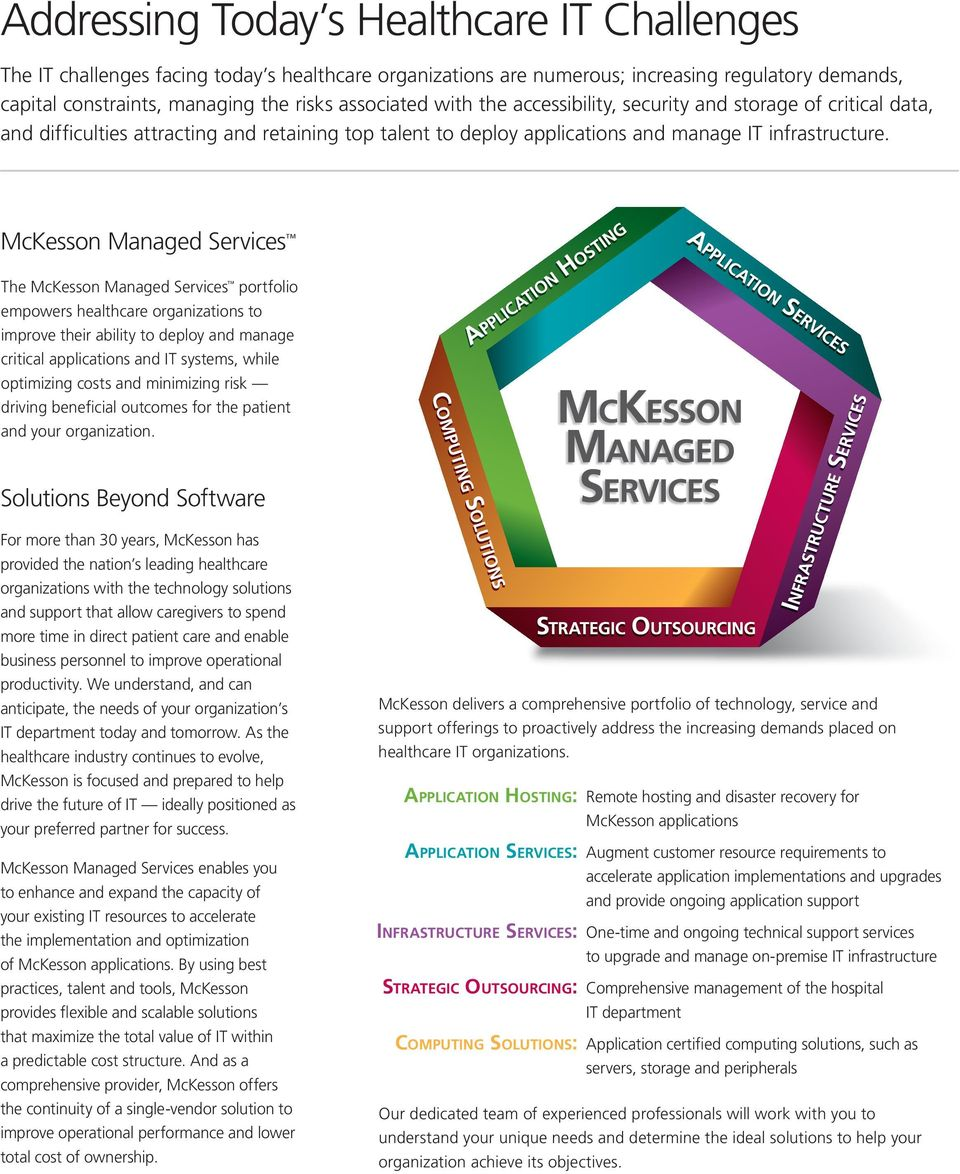 McKesson Managed Services The McKesson Managed Services portfolio empowers healthcare organizations to improve their ability to deploy and manage critical applications and IT systems, while