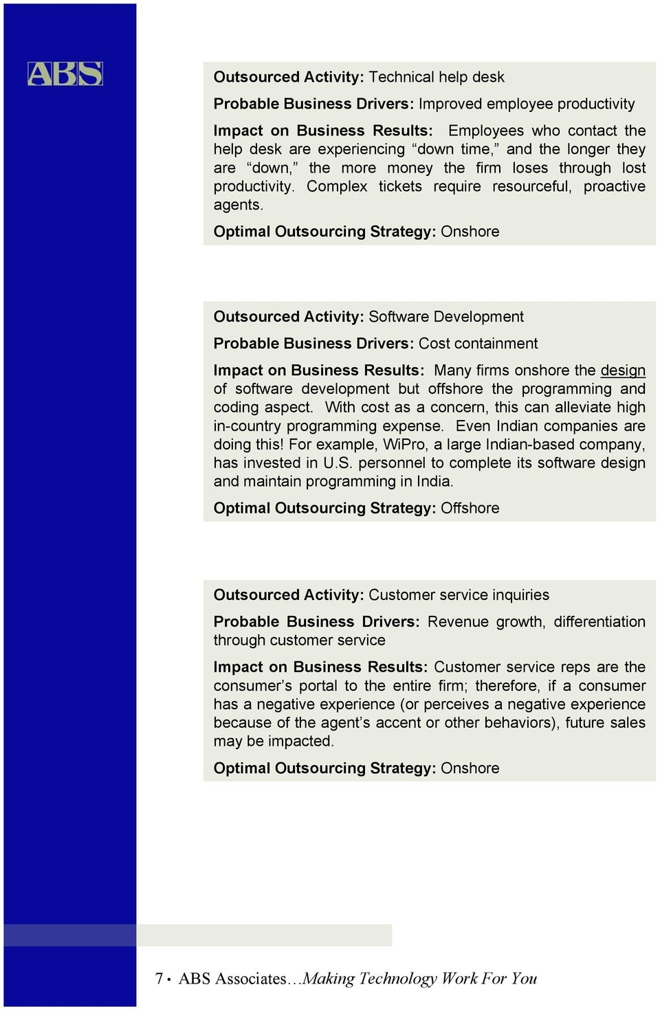 Optimal Outsourcing Strategy: Onshore Outsourced Activity: Software Development Probable Business Drivers: Cost containment Impact on Business Results: Many firms onshore the design of software
