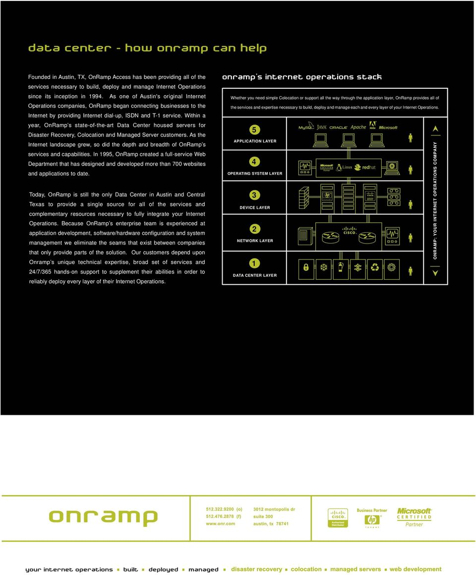 Within a year, OnRamp s state-of-the-art Data Center housed servers for Disaster Recovery, Colocation and Managed Server customers.
