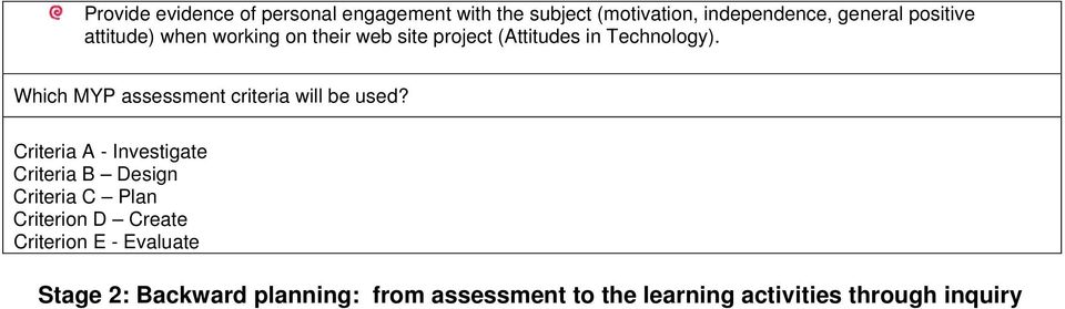 Which MYP assessment criteria will be used?