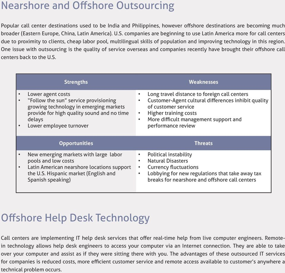 One issue with outsourcing is the quality of service overseas and companies recently have brought their offshore call centers back to the U.S.