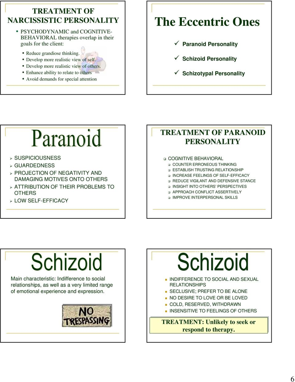 Enhance ability to relate to others Avoid demands for special attention The Eccentric Ones Paranoid Personality Schizoid Personality Schizotypal Personality PARANOID SUSPICIOUSNESS GUARDEDNESS