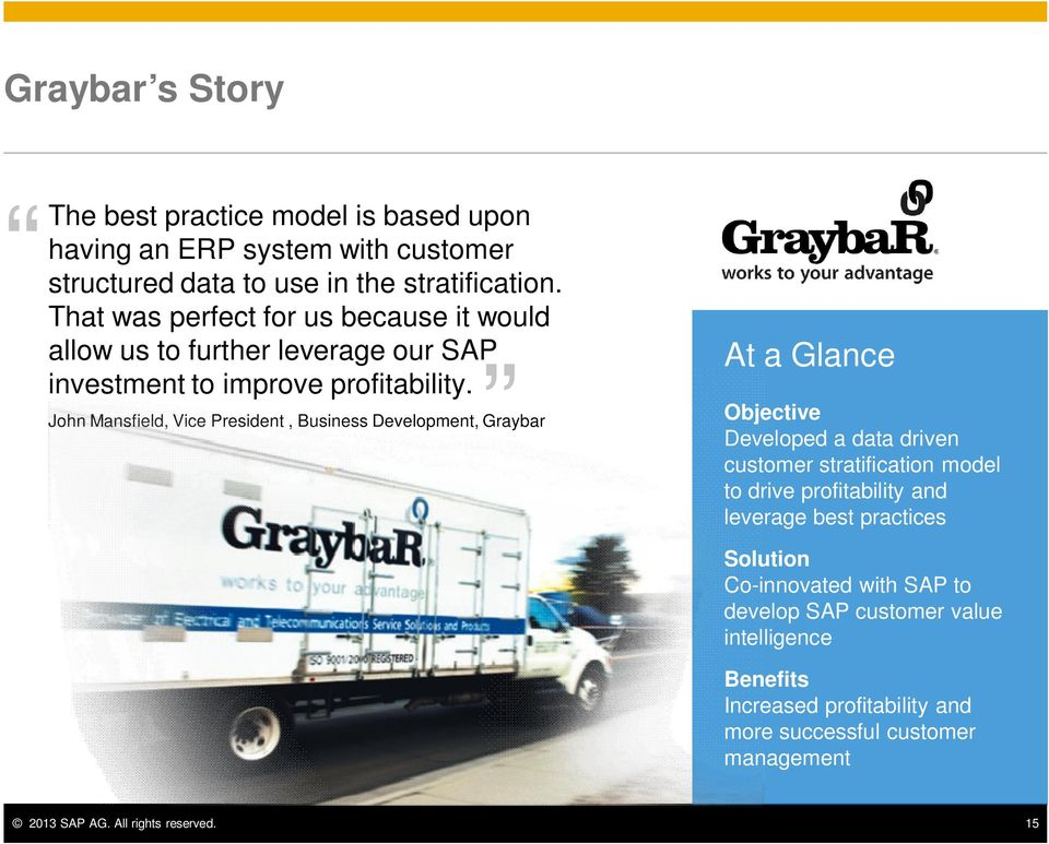 John Mansfield, Vice President, Business Development, Graybar At a Glance Objective Developed a data driven customer stratification model to drive