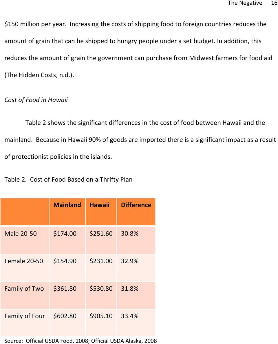 Cost of Food in Hawaii Table 2 shows the significant differences in the cost of food between Hawaii and the mainland.