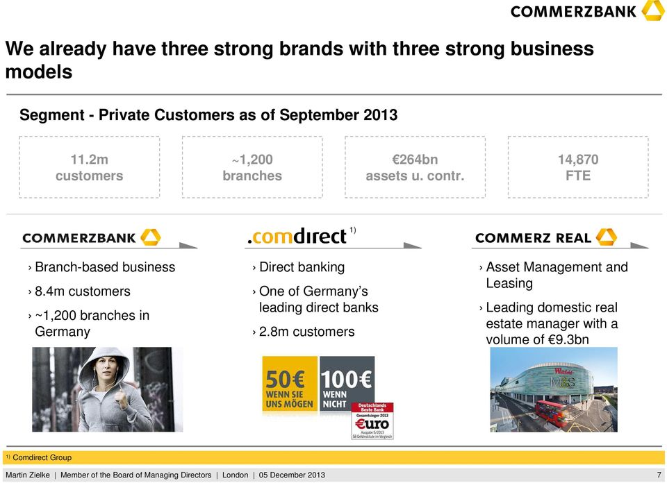 4m customers ~1,200 branches in Germany Direct banking One of Germany s leading direct banks 2.