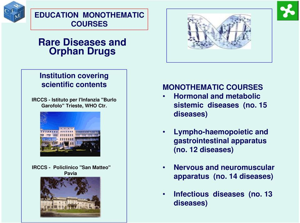 MONOTHEMATIC COURSES Hormonal and metabolic sistemic diseases (no.