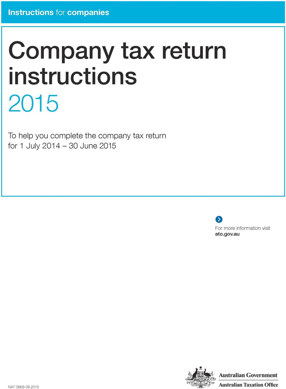 company tax return for 1 July 2014 30 June 2015