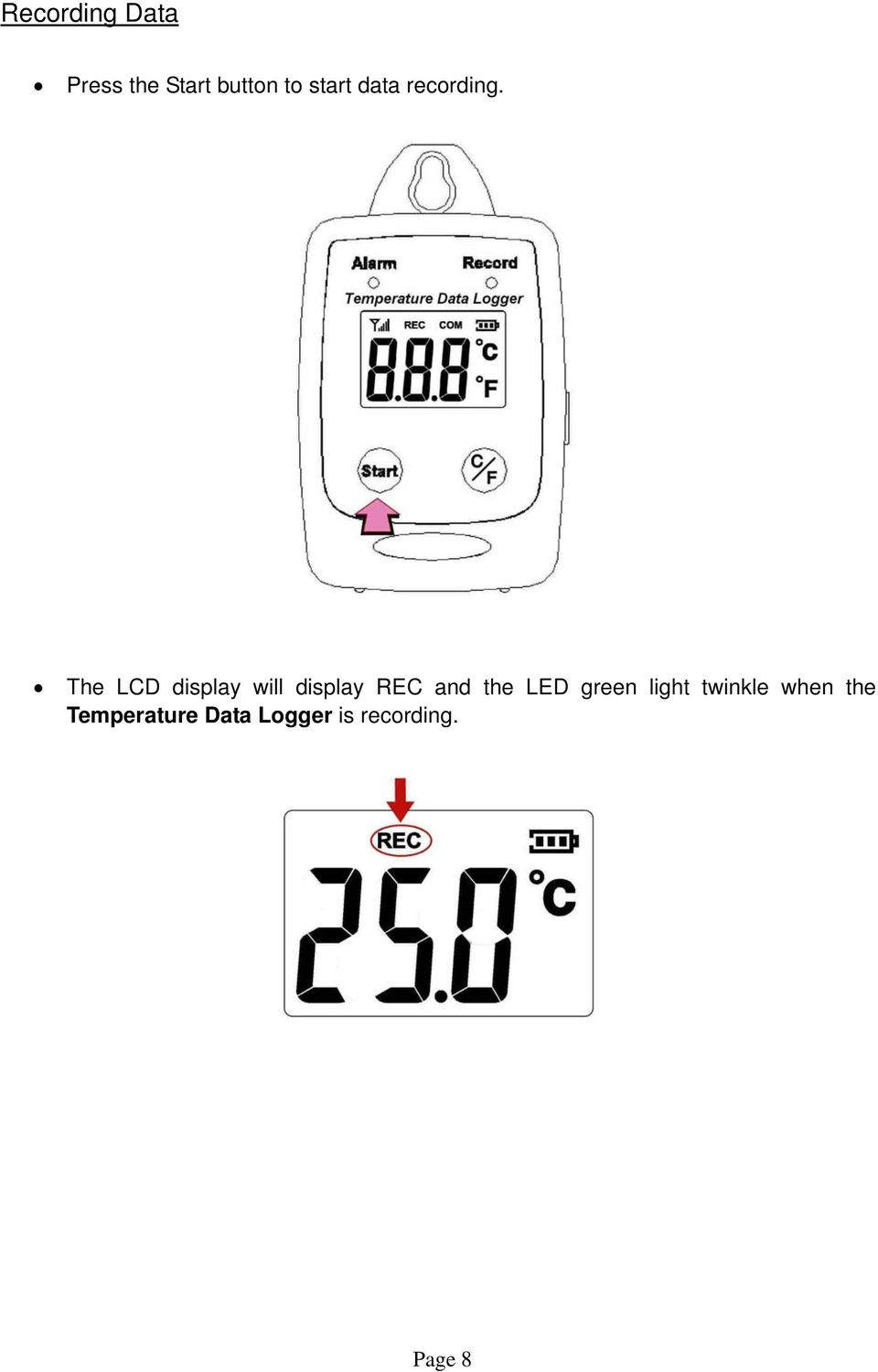 The LCD display will display REC and the LED