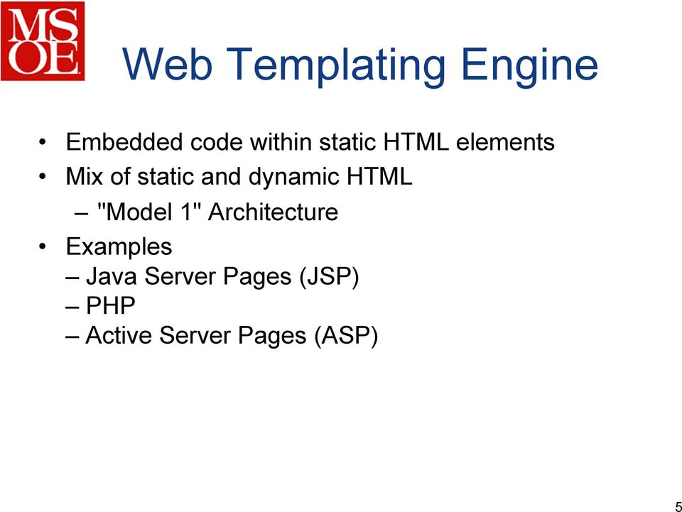 "dynamic HTML ""Model 1"" Architecture Examples"