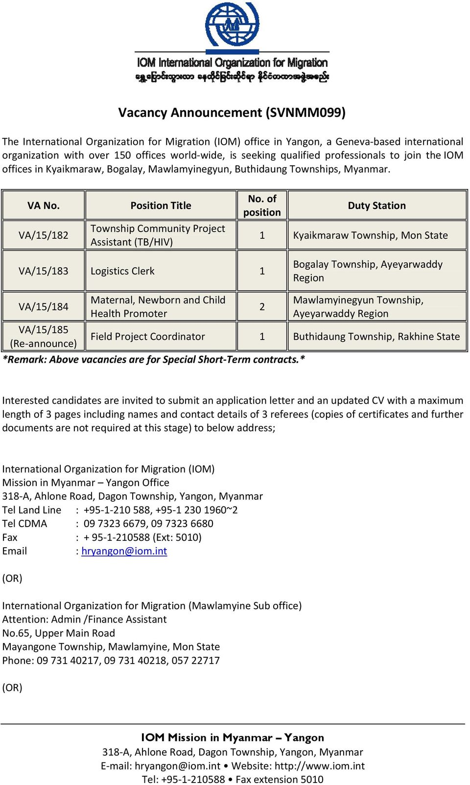 of position Duty Station 1 Kyaikmaraw Township, Mon State VA/15/183 Logistics Clerk 1 Bogalay Township, Ayeyarwaddy Region VA/15/184 Maternal, Newborn and Child Health Promoter 2 Mawlamyinegyun