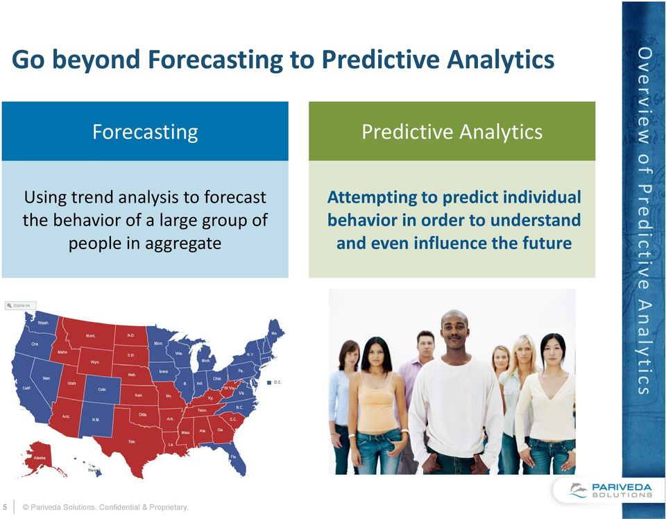 Predictive Analytics Attempting to predict individual behavior in order to