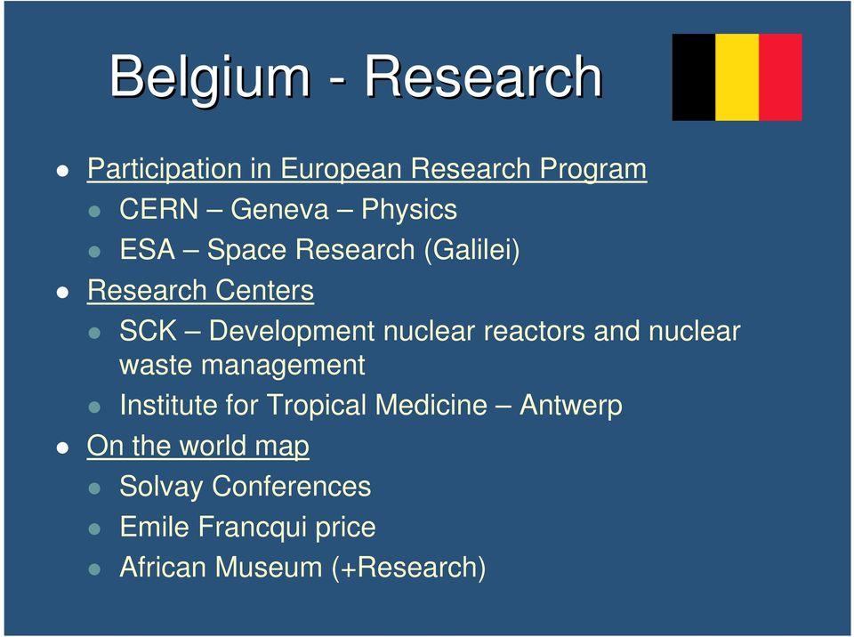 reactors and nuclear waste management Institute for Tropical Medicine Antwerp