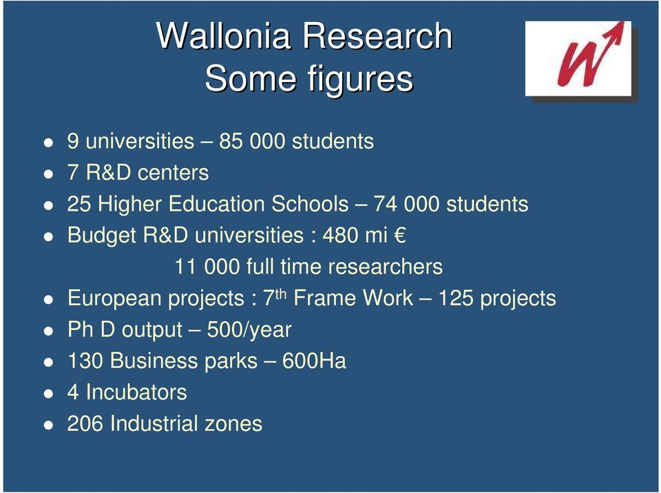 11 000 full time researchers European projects : 7 th Frame Work 125 projects