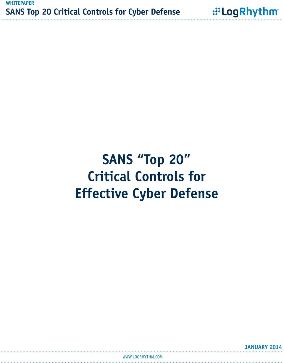 Top 20 Critical Controls for