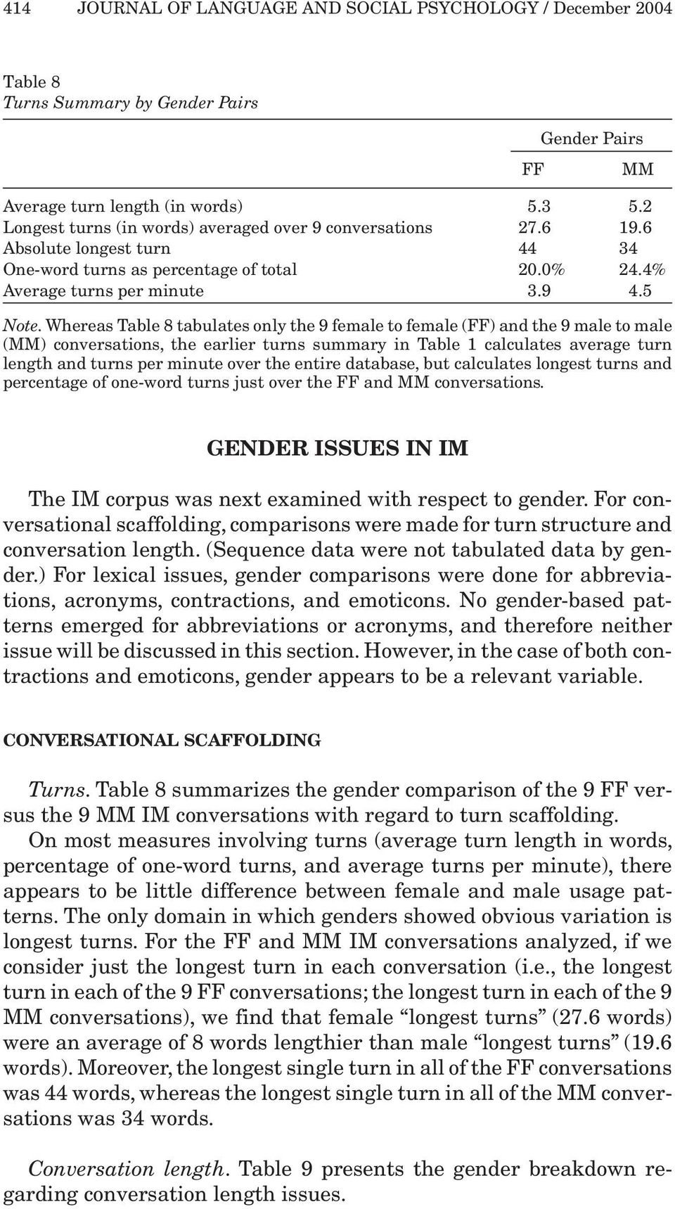 Whereas Table 8 tabulates only the 9 female to female (FF) and the 9 male to male (MM) conversations, the earlier turns summary in Table 1 calculates average turn length and turns per minute over the