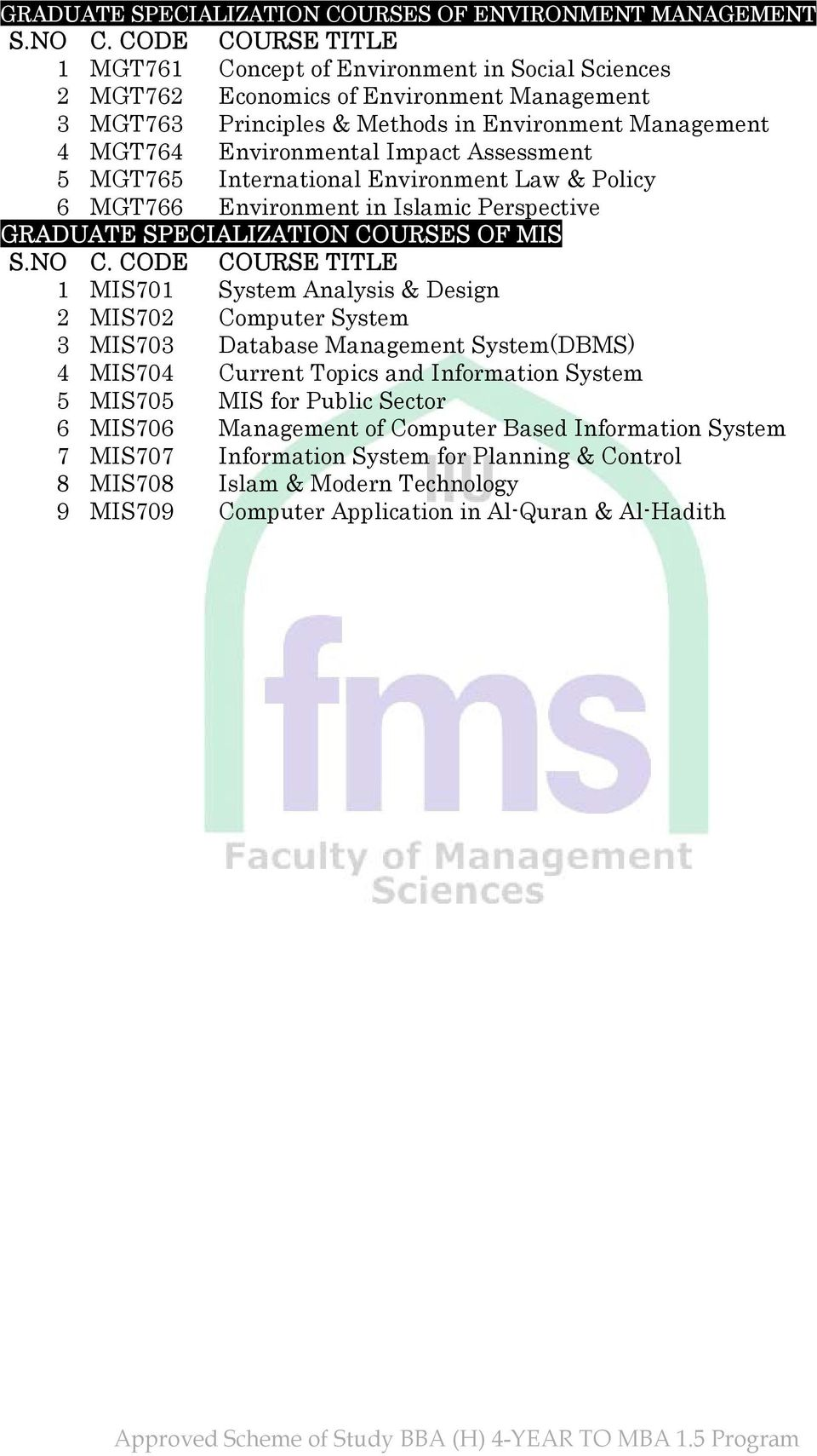 OF MIS 1 MIS701 System Analysis & Design 2 MIS702 Computer System 3 MIS703 Database Management System(DBMS) 4 MIS704 Current Topics and Information System 5 MIS705 MIS for Public Sector 6
