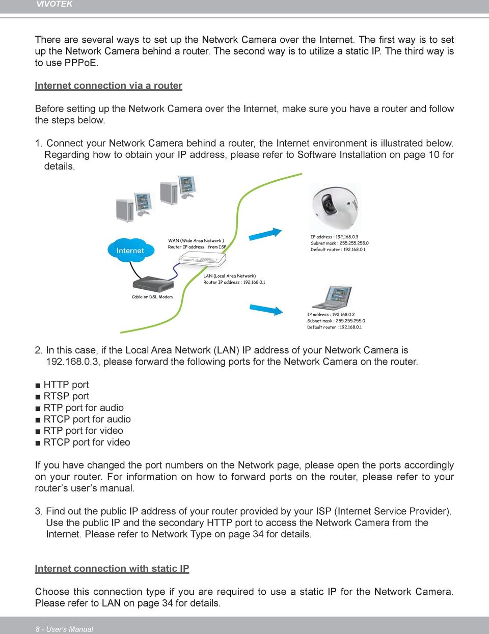 Internet connection via a router Before setting up the Network Camera over the Internet, make sure you have a router and follow the steps below. 1.