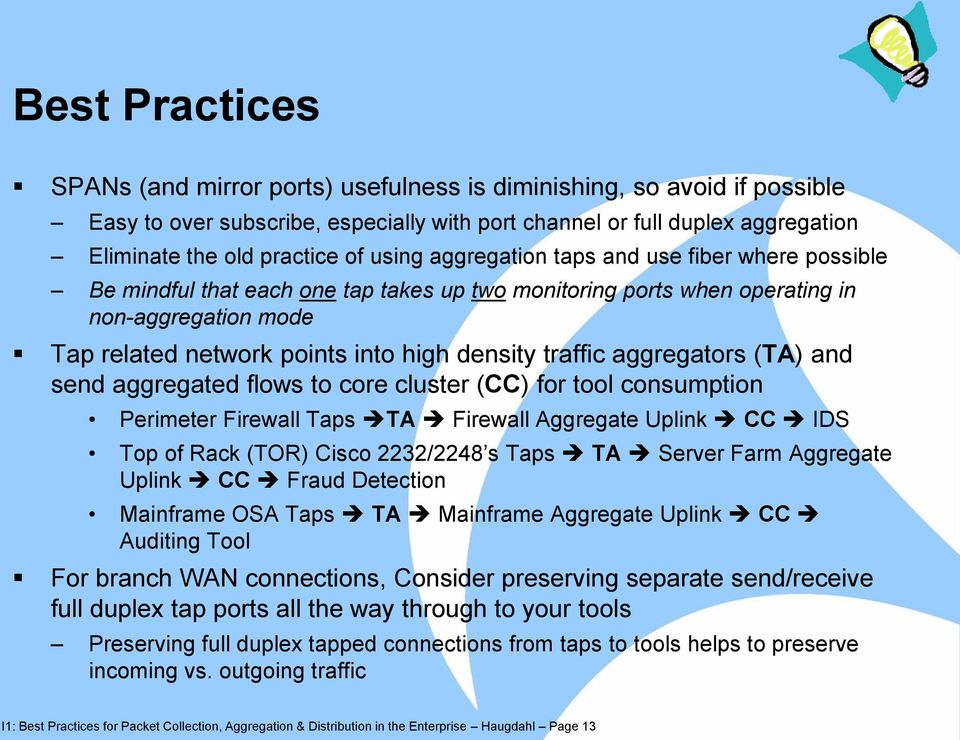 traffic aggregators (TA) and send aggregated flows to core cluster (CC) for tool consumption Perimeter Firewall Taps TA Firewall Aggregate Uplink CC IDS Top of Rack (TOR) Cisco 2232/2248 s Taps TA