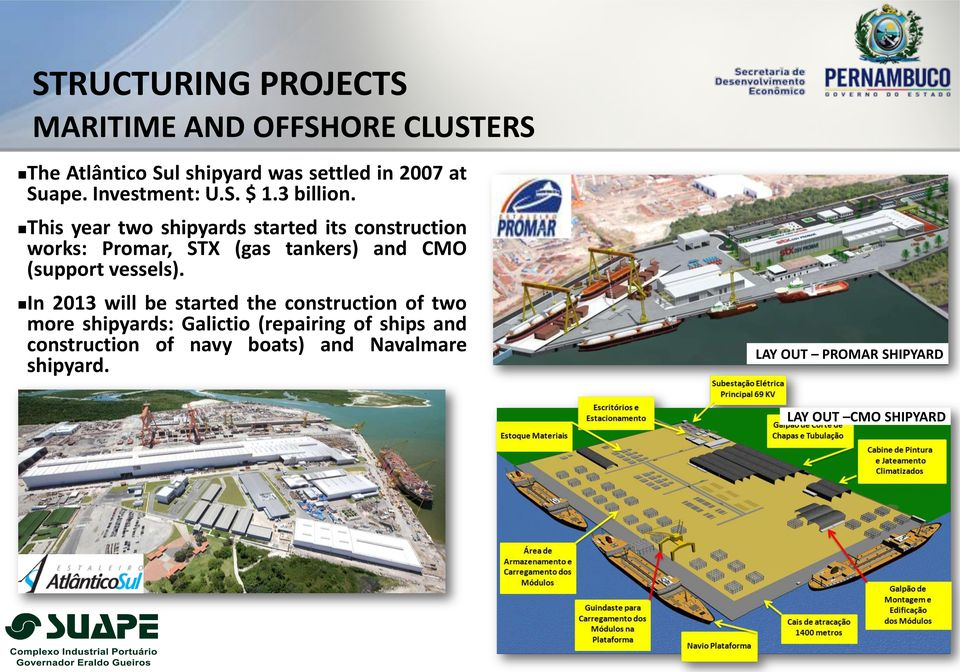 This year two shipyards started its construction works: Promar, STX (gas tankers) and CMO (support vessels).