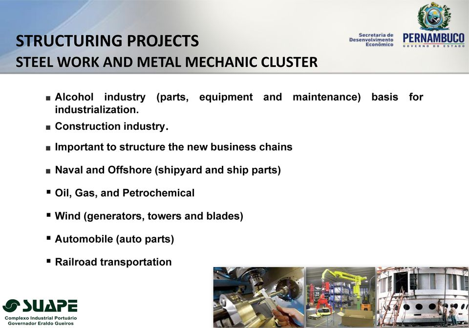 Important to structure the new business chains Naval and Offshore (shipyard and ship parts)
