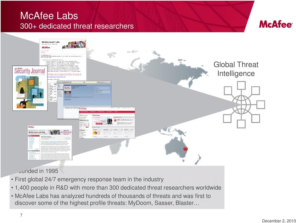300 dedicated threat researchers worldwide McAfee Labs has analyzed hundreds of thousands of