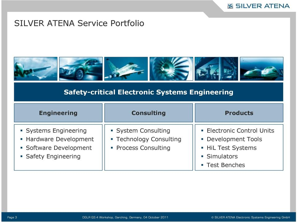 Consulting Process Consulting Electronic Control Units Development Tools HiL Test Systems Simulators Test