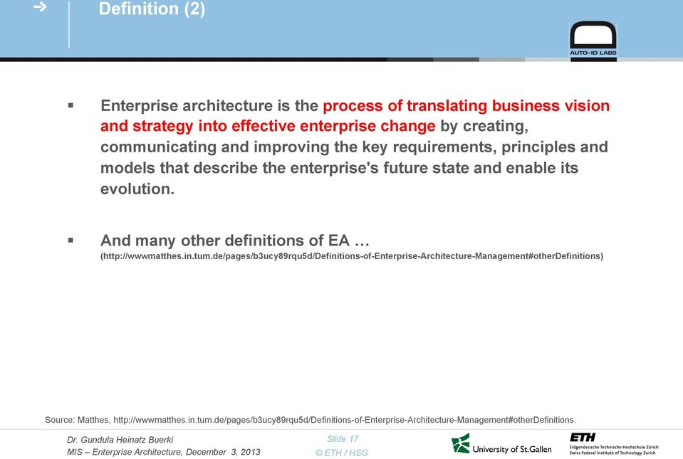And many other definitions of EA (http://wwwmatthes.in.tum.