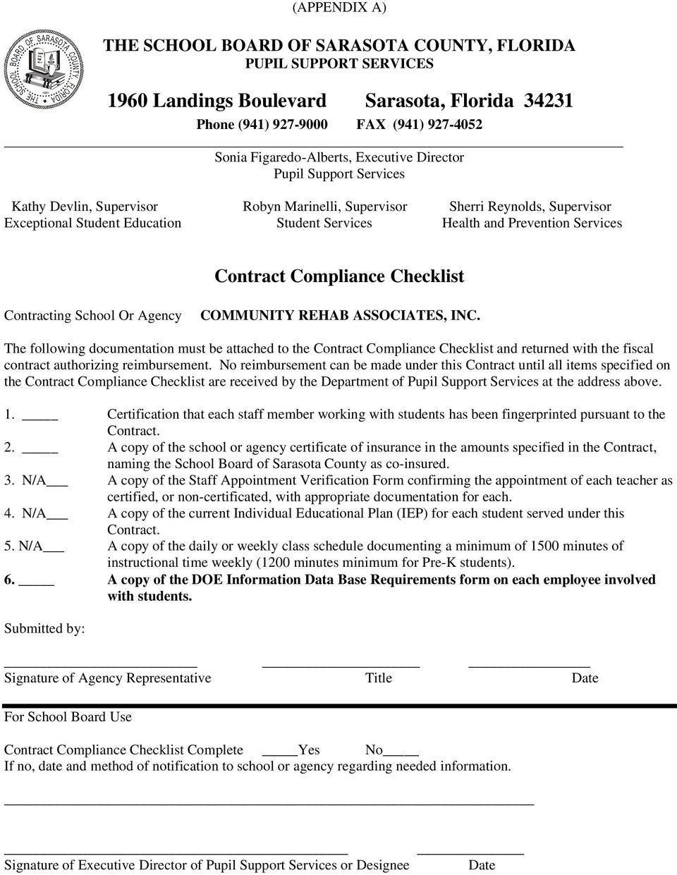Services Contract Compliance Checklist Contracting School Or Agency COMMUNITY REHAB ASSOCIATES, INC.