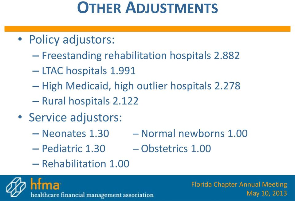 991 High Medicaid, high outlier hospitals 2.278 Rural hospitals 2.