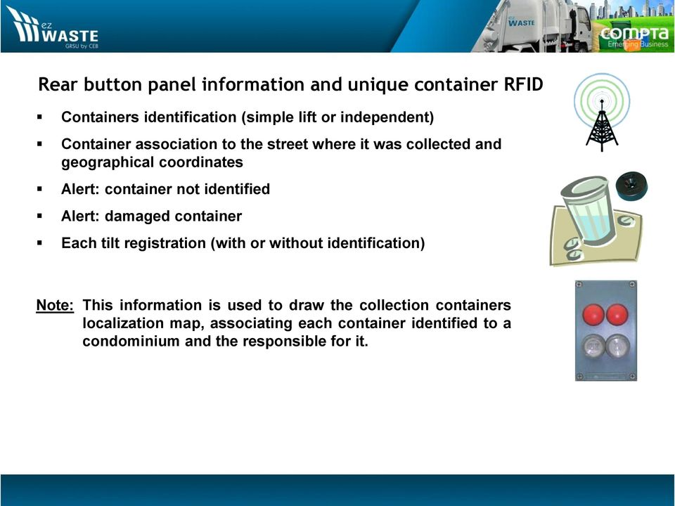 Alert: damaged container Each tilt registration (with or without identification) Note: This information is used to draw