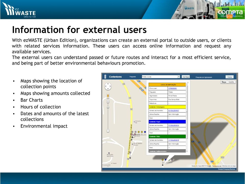 The external users can understand passed or future routes and interact for a most efficient service, and being part of better environmental