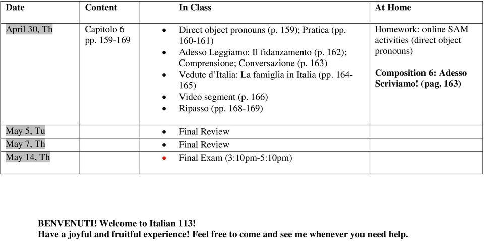 164-165) Video segment (p. 166) Ripasso (pp. 168-169) activities (direct object pronouns) Composition 6: Adesso Scriviamo! (pag.